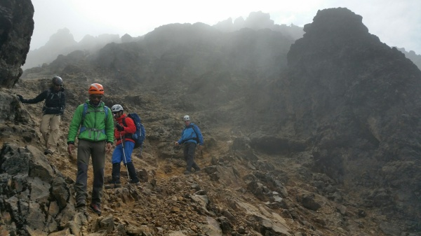 The team negotiating a rocky traverse on Ruco Pichincha